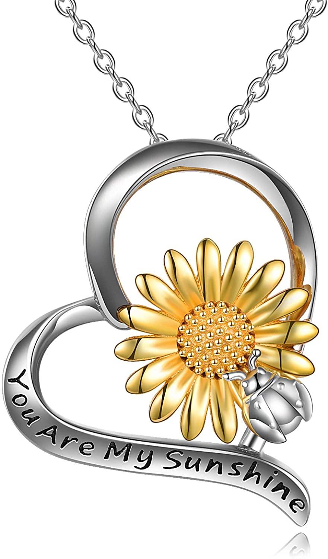 ONEFINITY Sunflower Ladybug Necklace Sterling Silver Sunflower Ladybug Jewelry for Women