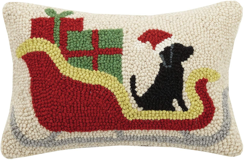 Peking Handicraft Christmas Sleigh Black Lab Dog Christmas Mini Hooked Wool Pillow - 8
