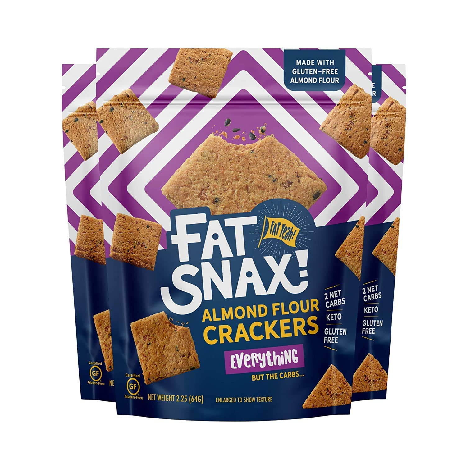 Fat Snax Almond Flour Crackers - Low-Carb and Gluten-Free Keto Crackers with 7g of Healthy Fats - 1-2 Net Carb Keto Snacks - (Everything, 3-Pack)