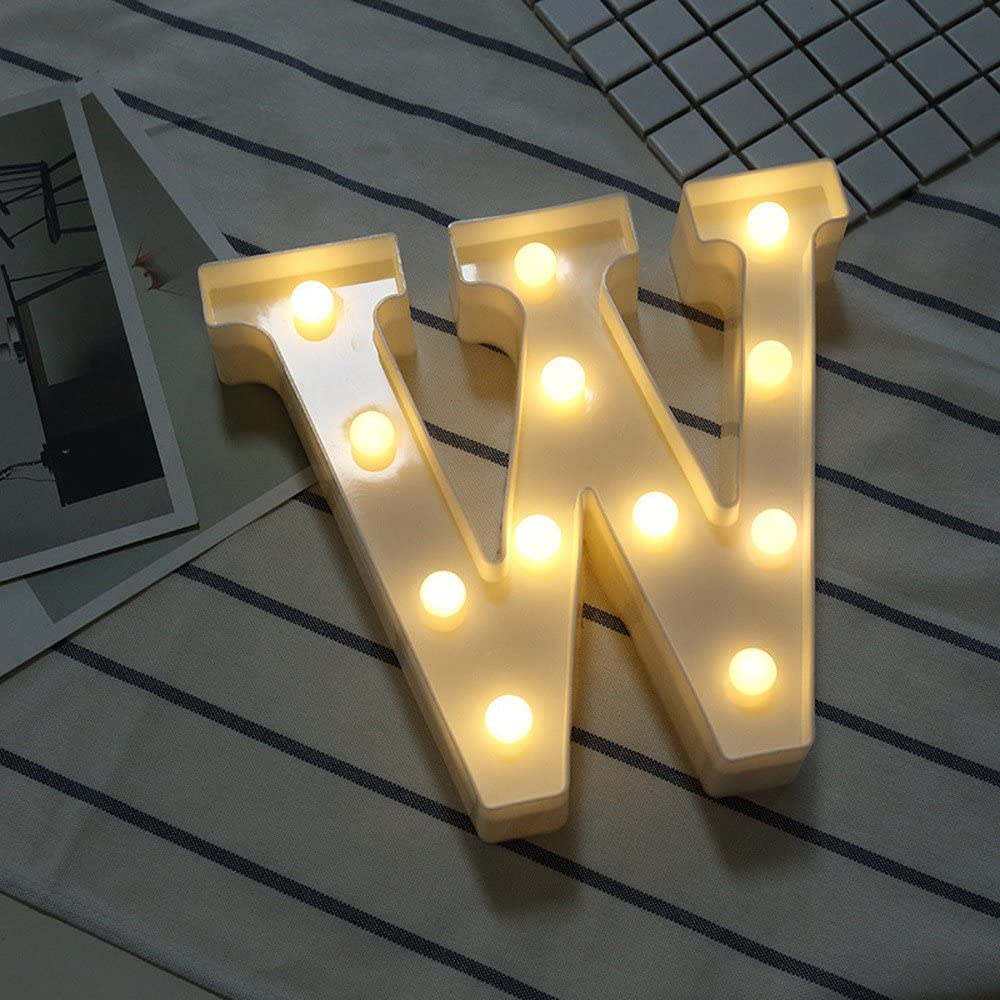 LED Letters Lights Night Lights, Light Up Letters Lights 26 Alphabet A-Z Words Lamps Lighting Indoor Wall Light for Bedroom Christmas Wedding - Best Gift for Family Lovers Friends (W)