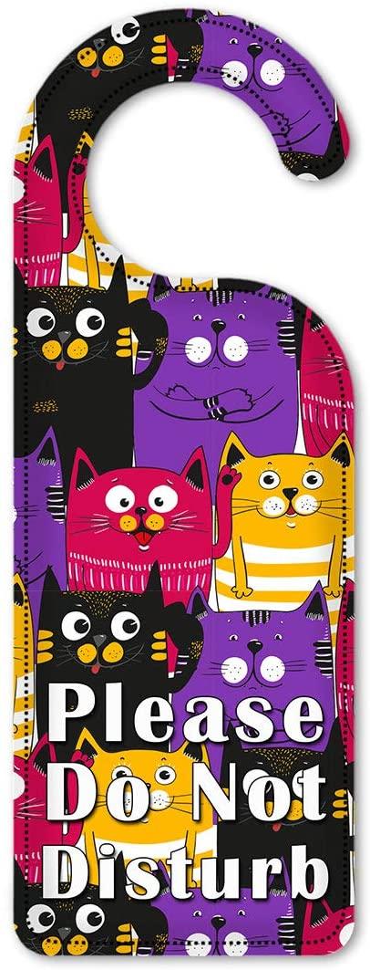 Art Plates Do Not Disturb Door Knob Hanger Sign - Black, Purple & Orange Cat Toss