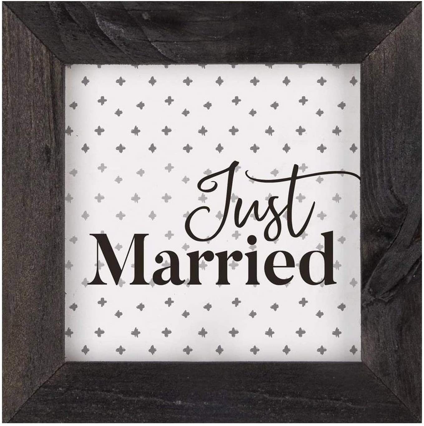 P. Graham Dunn Just Married Black and White 5 x 5 Pine Wood Decorative Framed Art Plaque