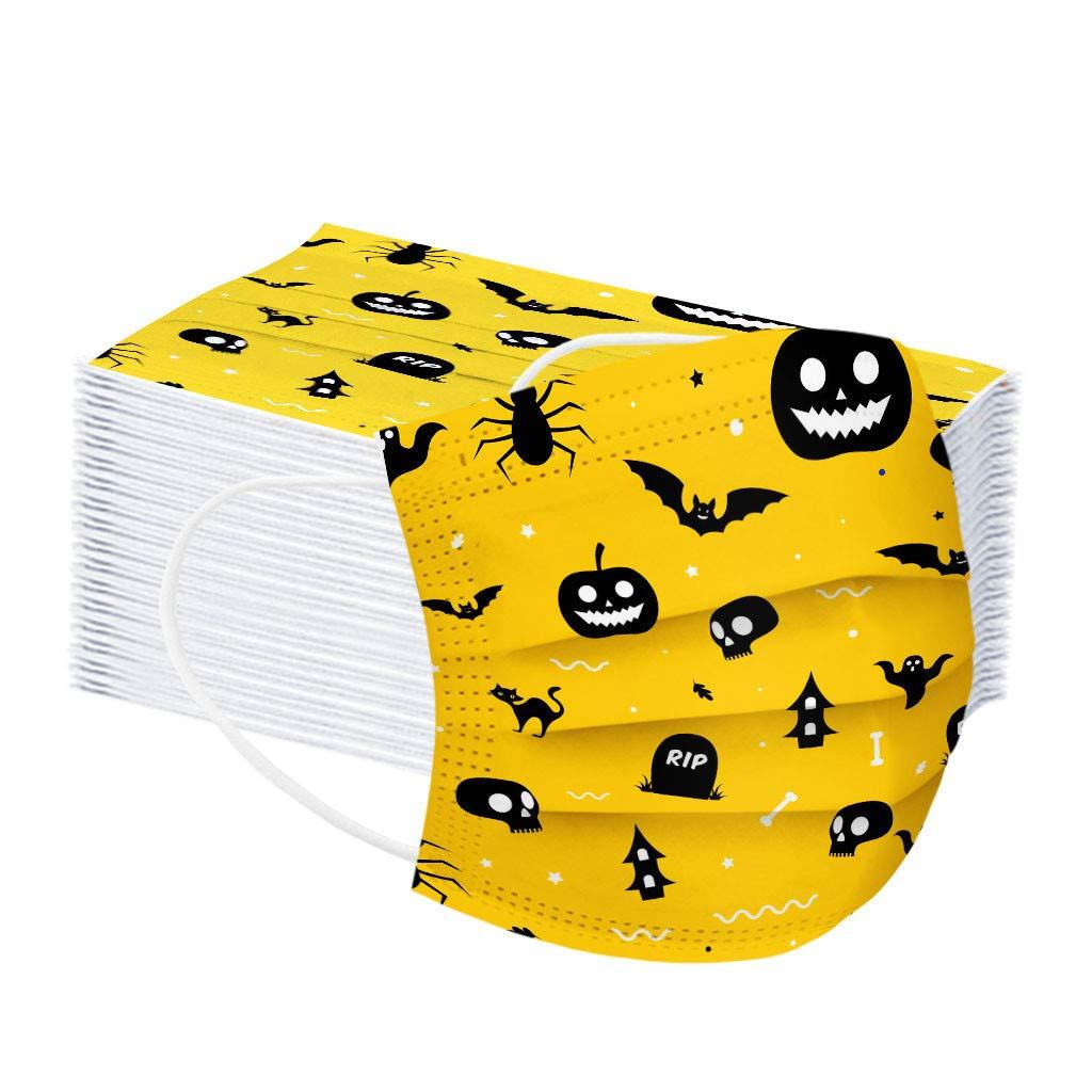 Hailia 50 PCS Children Halloween Disposable Face Bandanas 3 Ply Non-Woven, Cloth Covering, No Washable, Breathable Face Health Suitable for Kids (Multicolor-B)
