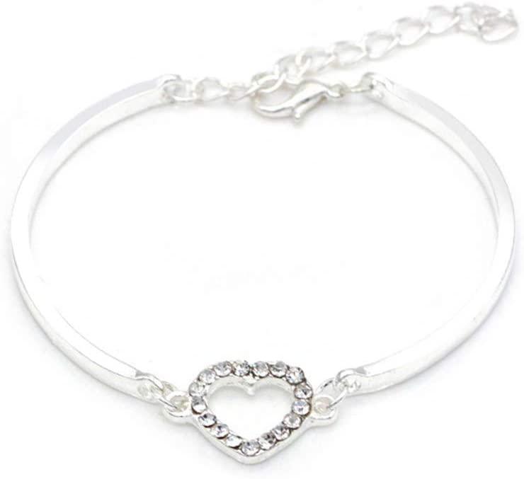 hbz11hl Bracelet Fashion Women Hollow Love Heart Rhinestone Charm Chain Bracelet Bangle Jewelry Silver