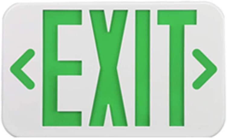 LEDMyplace Green LED Exit Sign Emergency Light w/Battery Backup, 4W, Exit Sign, Test Button & Charge Indicator Light, Lighted Exit Signs/Emergency Exit Light, LED Emergency Exit Sign, UL, cUL Listed