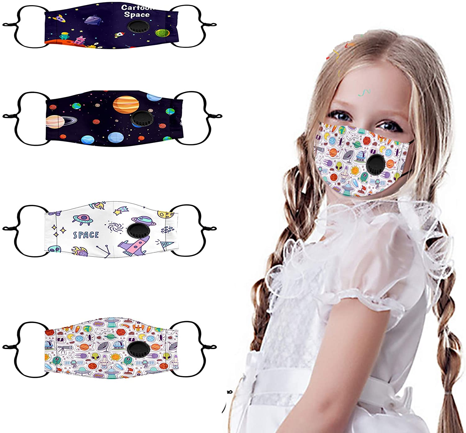 Kids Reusable Face Mask Breathing Washable Face Bandanas with Cute Cotton Pattern Adjustable Dustproof Balaclava Indoors and Outdoors with Lanyard (4PC, Star color A)