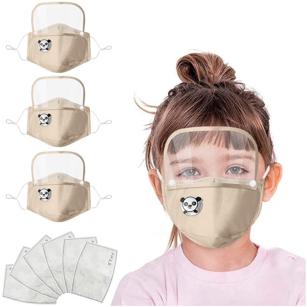 Jamiacy Kids Mouth Shield,3pcs Childrens Reusable Face 𝐌𝐚c𝐤 with Removable Eye Shield,Washable Mouth and Nose Health Protection,Indoors and Outdoors, Full Protection, Anti-Haze Dust