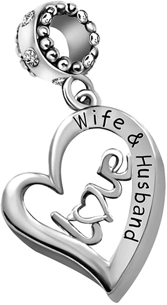 KunBead Wife Husband I Love You Heart Crystal Birthstone Charms for Bracelets Valentines Day Dangle Charm Beads
