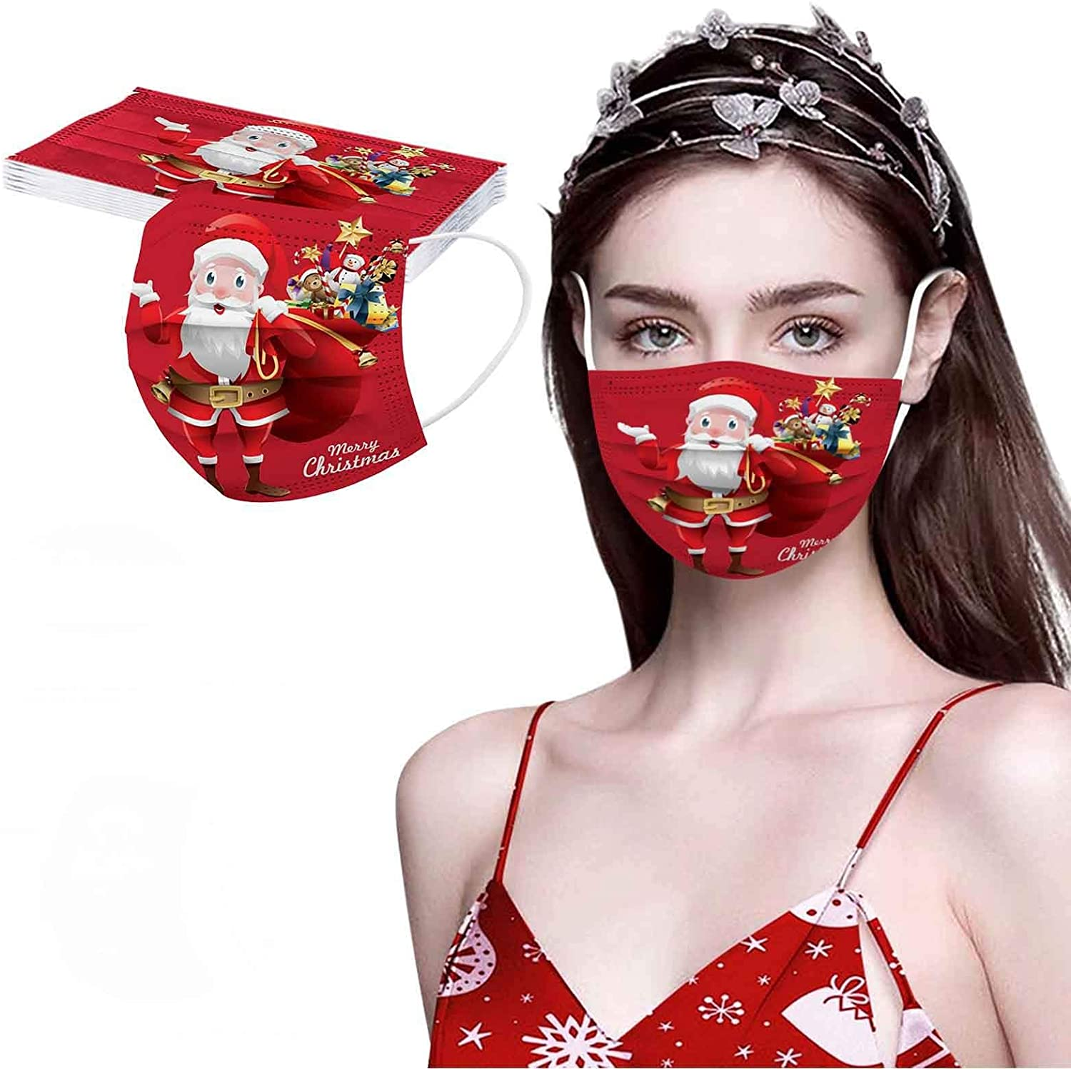 10/50Pcs Adult Christmas Disposable Face_mask, 3 Layer Christmas Face Macks for Men Women, Cute Christmas Themed Facial Covering Festival Party