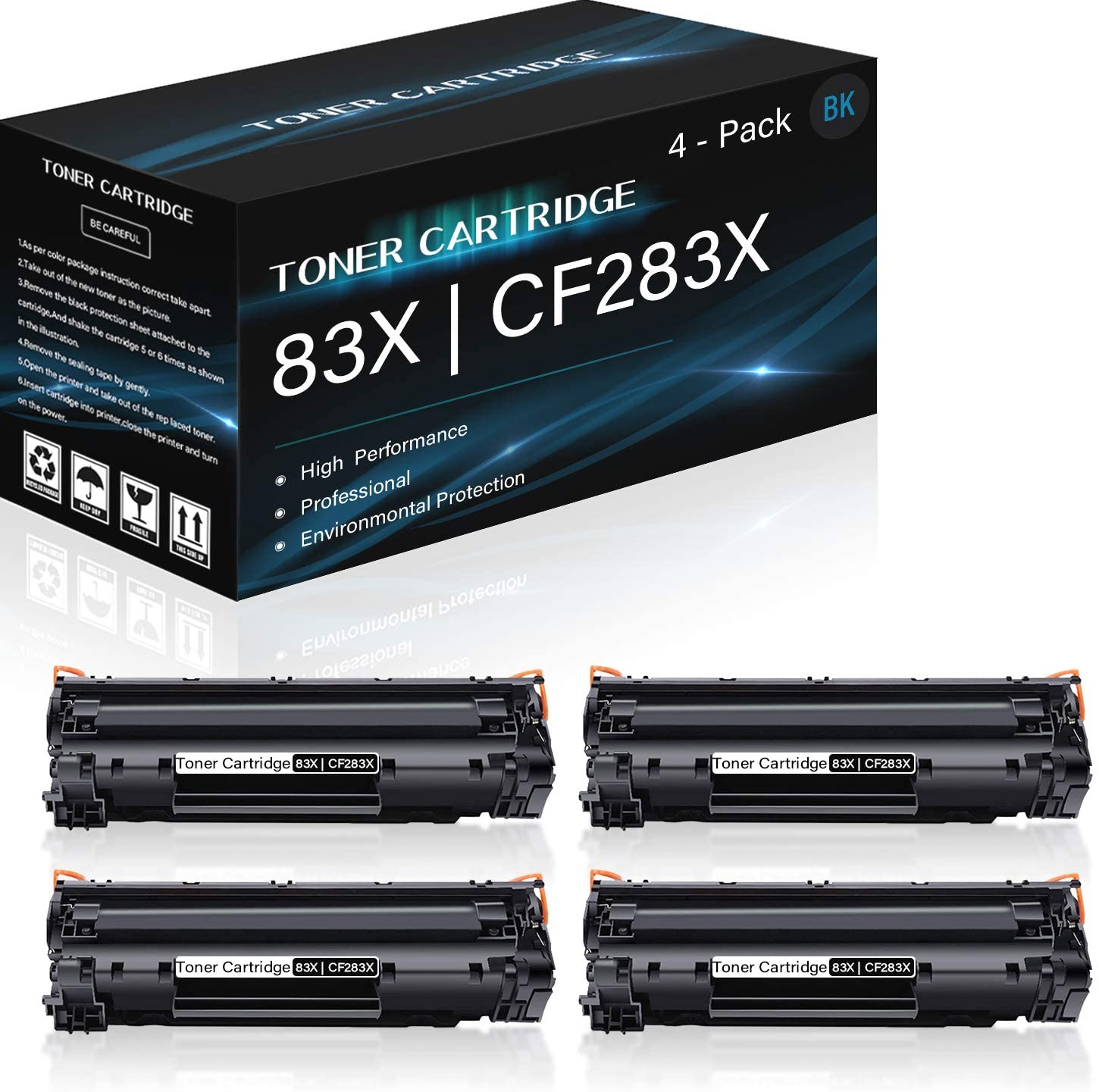 4 Pack 83X | CF283X (Black) Compatible High Yield Toner Cartridge Replacement for HP Laserjet Pro MFP (M225dn M225dw M125a M125nw M126a M126nw M125ra M128fw M127fs) Printers,Sold by Thurink.
