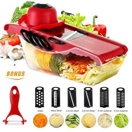 Yuehuam Mandoline Slicer Vegetable Cutter Potato Grater and Food Container Cheese Slicer Food Slicer with 5 Blades for Home Kitchen