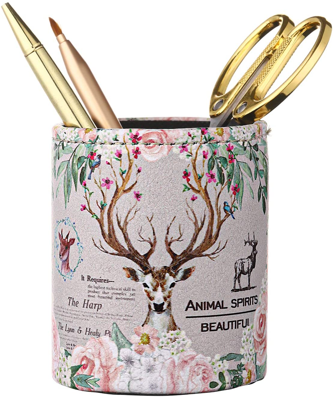 Onlyesh Pencil Holder for Desk, PU Leather Pen Cup Makeup Brush Holder, Big Capacity Pencil Organizer for Office School Home, Ideal Gifts for Girls Kids Women - Deer