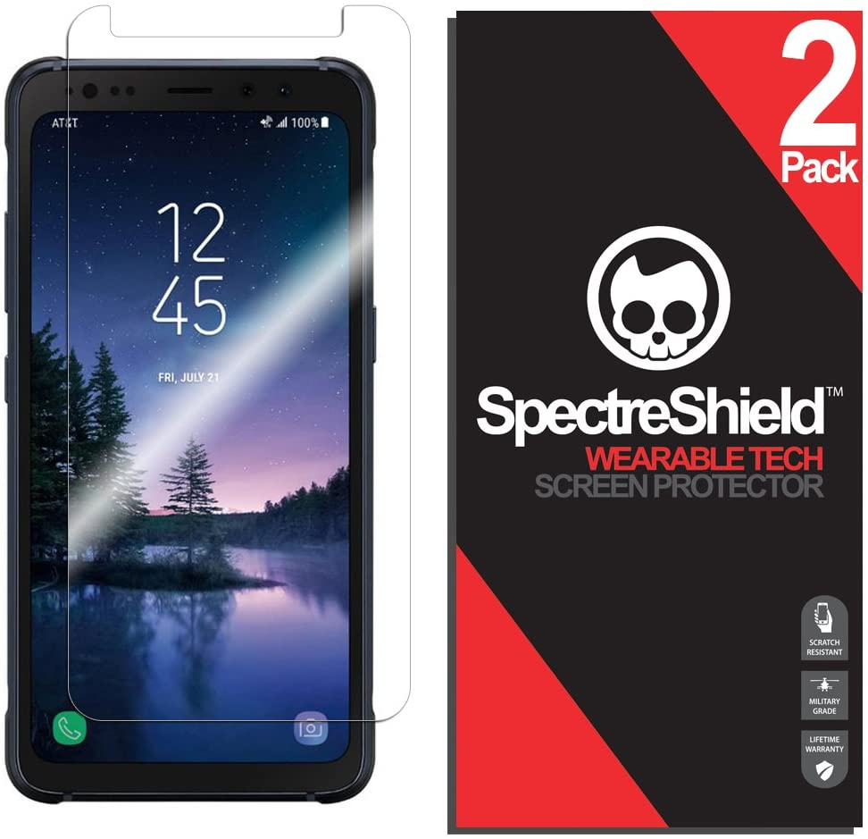 Spectre Shield (2 Pack) Screen Protector for Samsung Galaxy S8 ACTIVE Accessory Samsung Galaxy S8 ACTIVE Screen Protector Case Friendly Full Coverage Clear Film