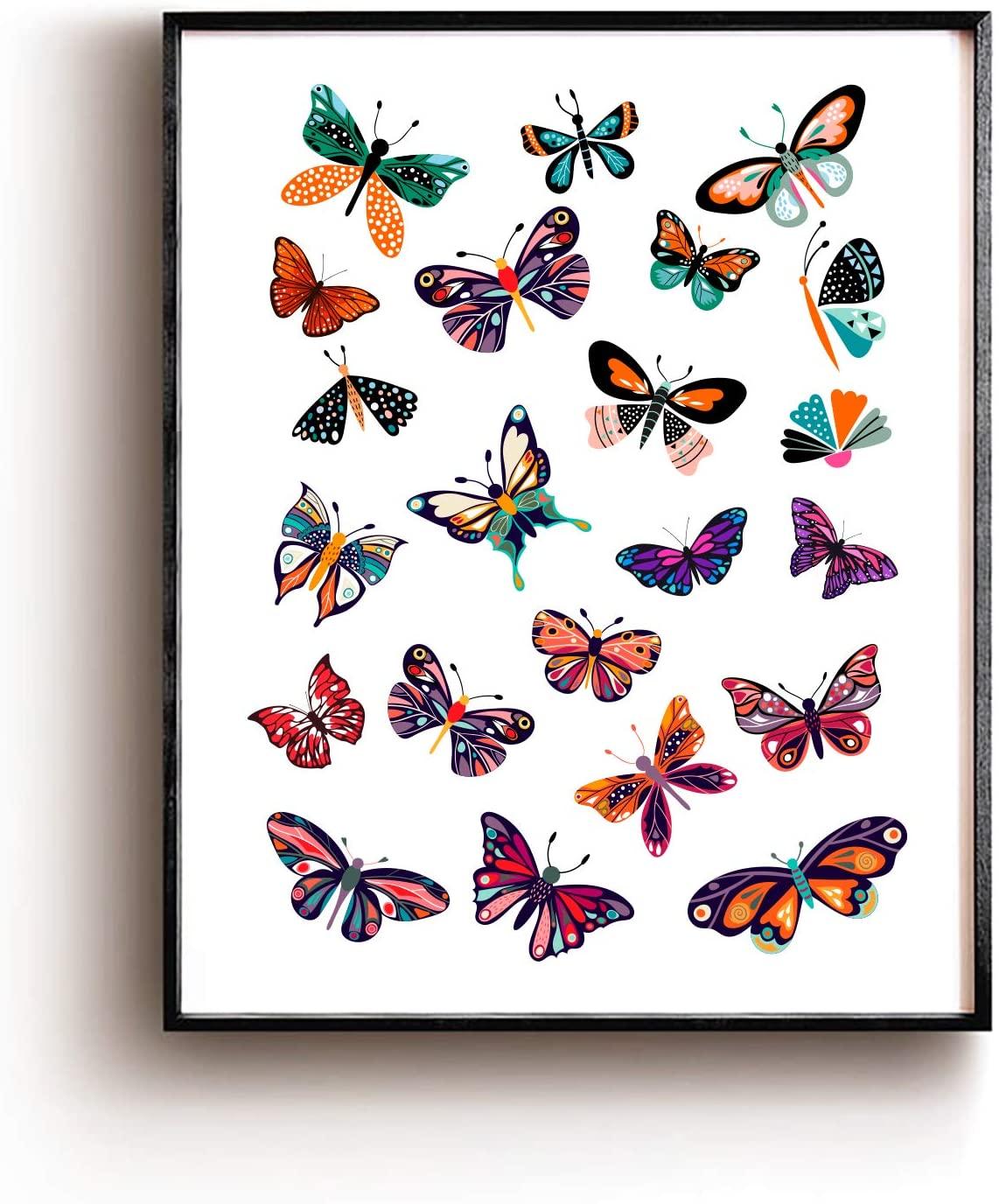 ForbiddenPaper Cute Butterfly Theme Art Print Poster Decor | Gifts for Girls/Women/Men/Friends Best Office/Home/Classroom Decor Gifts 8x10 Unframed