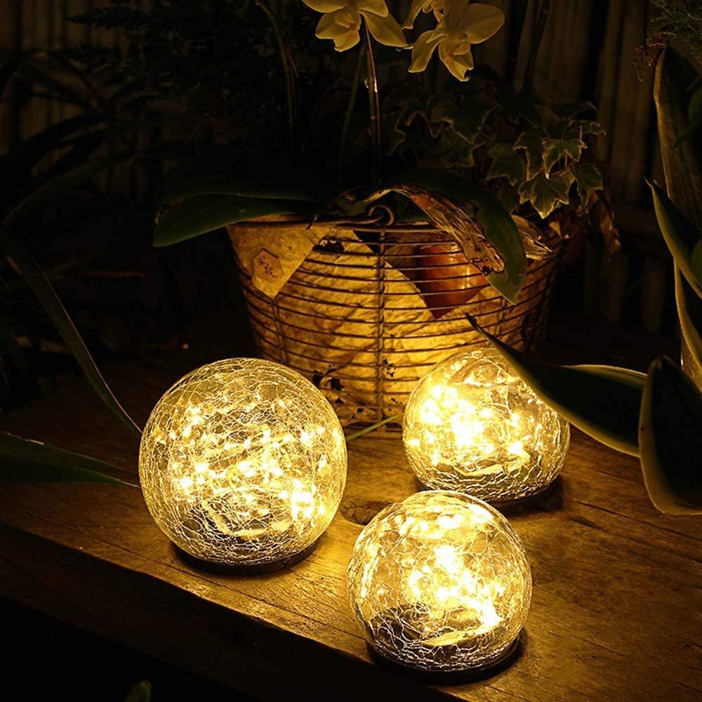 "Jinniee Solar Powered LED Garden Light Cracked Glass Globe Ball Outdoor Lamp for Lawn Patio Garden Yard (Diameter: 5.91"", Led Globe)"