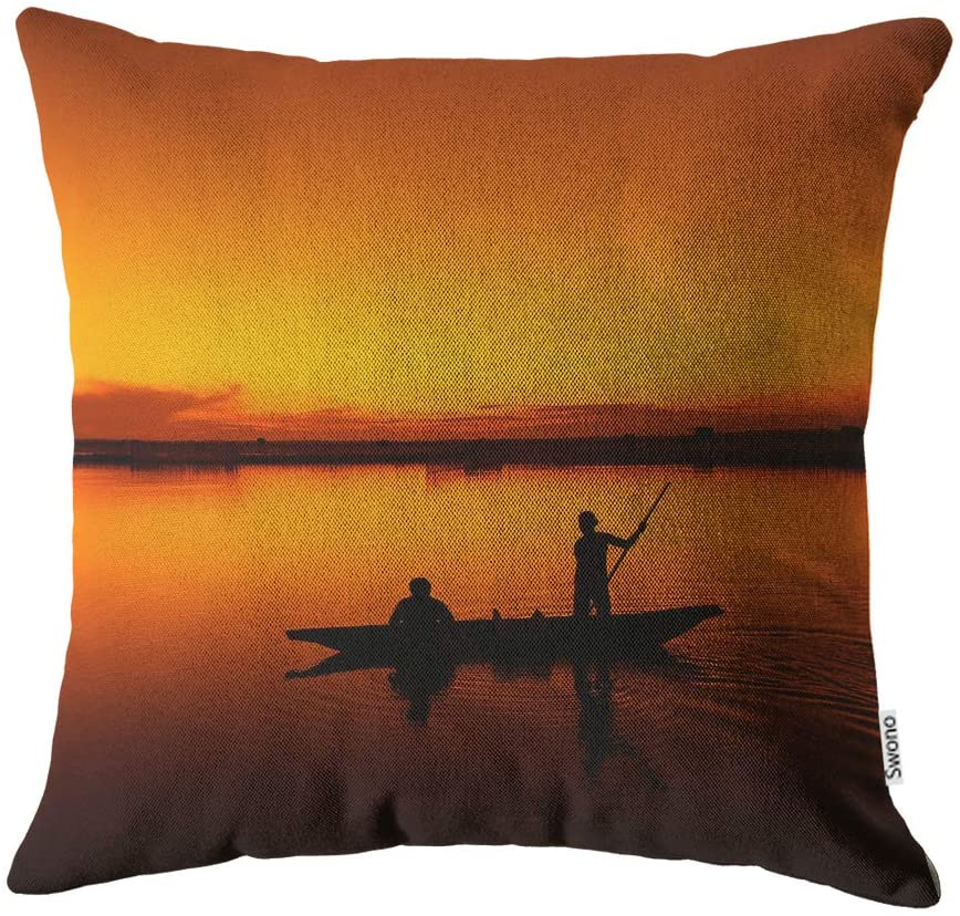 Swono Boat Pillow Cases,Fishing Boat and Fisherman on Sunset Pillow Cover Cotton Linen Home Decoration for Sofa Bed Soft Pillowcases Women Men 18