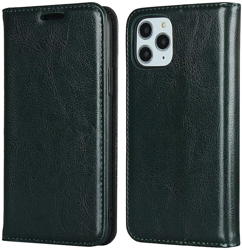 Cavor iPhone 11 Pro Case, Genuine Leather Wallet Card Holder Case Flip Shockproof Cover for iPhone 11 Pro - Dark Green