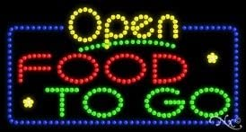 Food To Go Open LED Sign (High Impact, Energy Efficient)