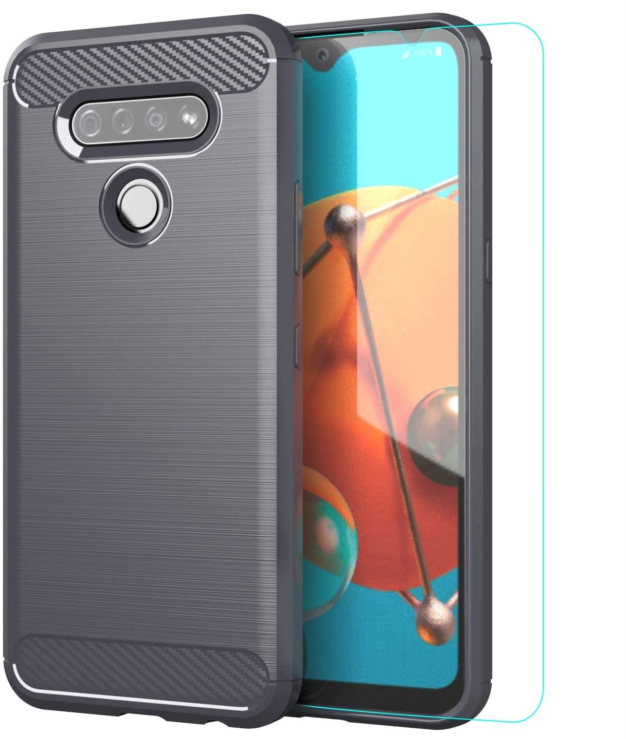 LG K51 Case,LG Q51 Case,with HD Screen Protector,LG Reflect case,Damping Soft TPU Slim Fashion Non-Slip Protective Phone Case,for LG K51 Phone Case (LG K51-Gray)