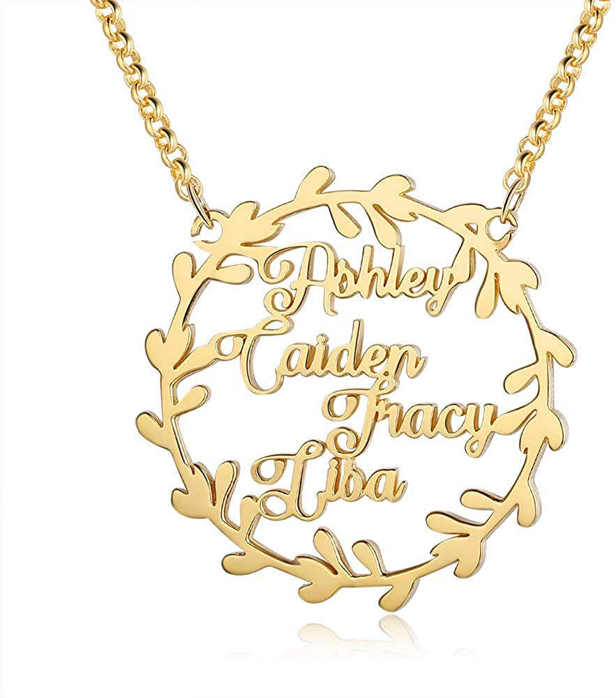 kaululu Personalized Christmas Birthday Gift for Women, Name Necklace Personalized with Deer Design Custom Nameplate Necklace Charm Jewelry Gift for Women Girls