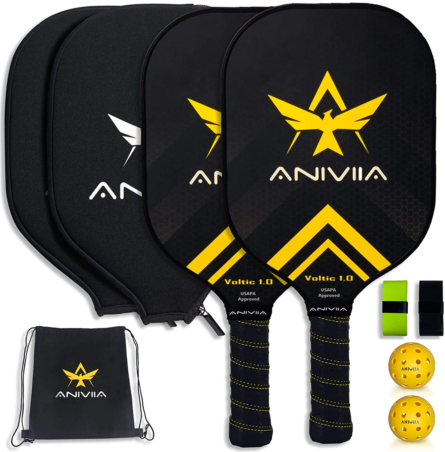 Aniviia Pickleball Paddle Racket Set of 2 - USAPA Approved   Japan Toray (T700s) Carbon Fiber, Polypropylene Honeycomb Core, Ultra Cushion   2 Outdoor Balls, 2 Neoprene Covers, 2 Overgrips and 1 Bag