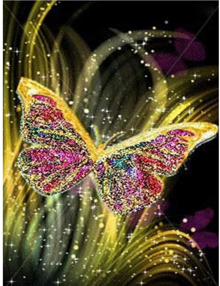 Butterfly Diamond Painting Kit 5D Full Digital Diamond Painting-Crystal Diamond Point Kit Home Decoration Art Gift (15.75 x 11.8 inches)