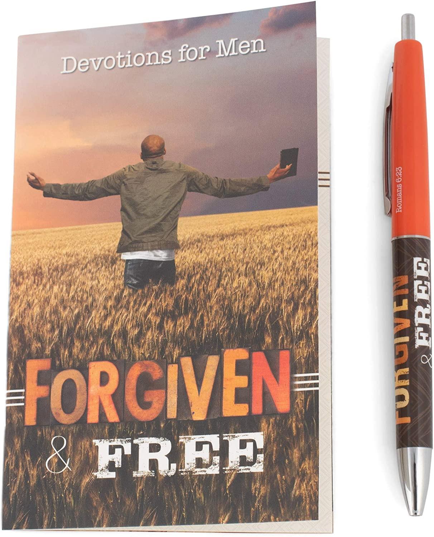 Christian Tools Affirmation Gift Set-Forgiven & Free Devotion Book & Pen (Romans 6:23) (Dec)