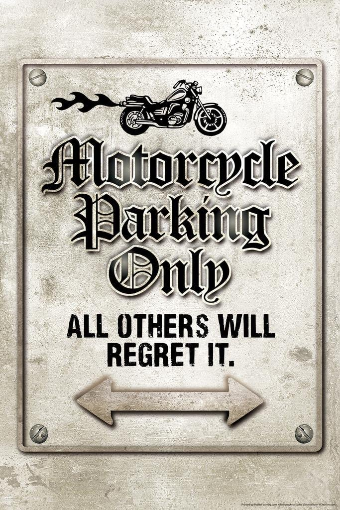 Motorcycle Parking Only All Others Will Regret It Funny Sign Cool Wall Decor Art Print Poster 24x36
