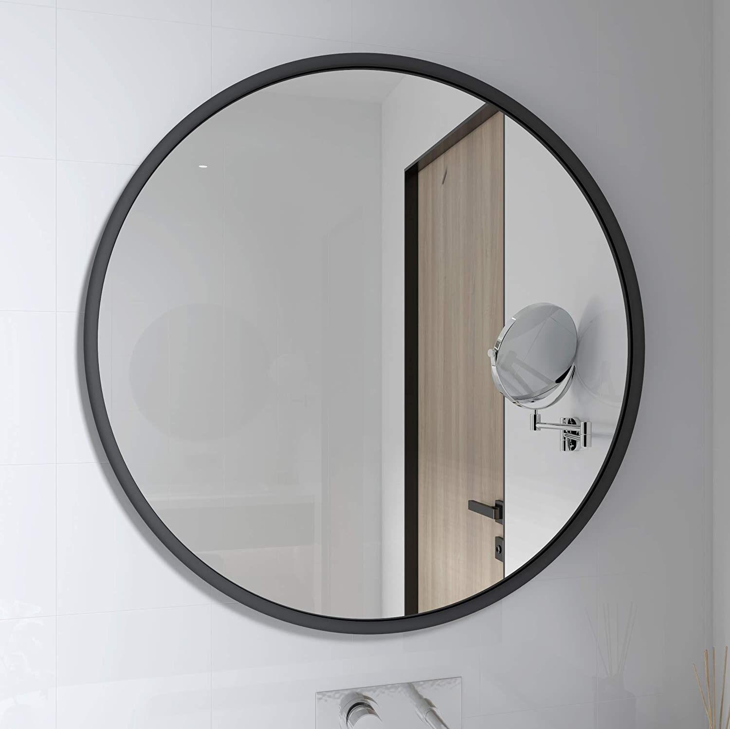 PROHOMEWARE Gold Round Bathroom Decorative Mirrors - Circle 18X18 Metal Frame Double Modern Vanity Beveled Bedroom Mirror Circular Farmhouse Rustic Vintage Above Couch Entryway Wall Silver Mirror