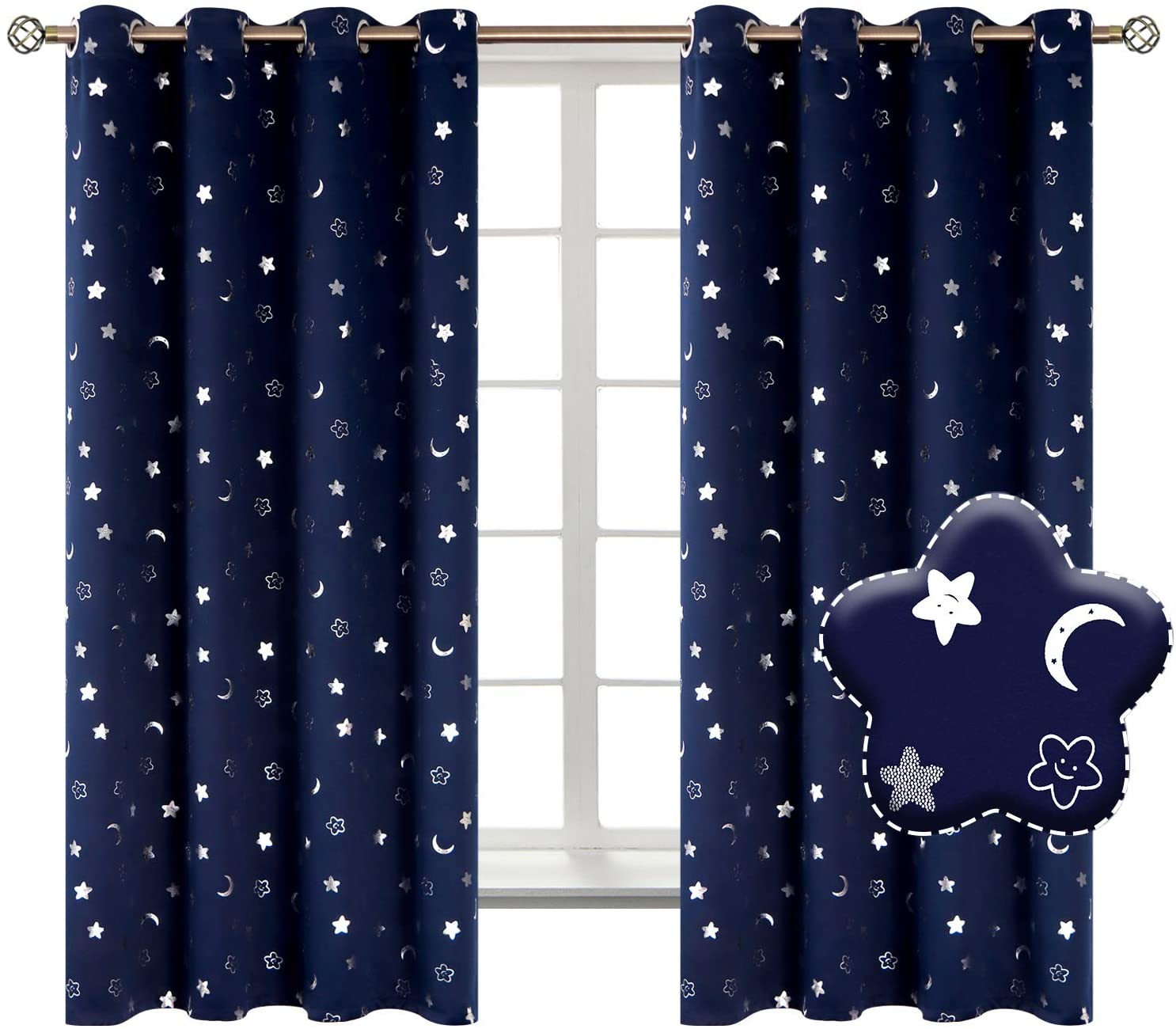 BGment Moon and Stars Blackout Curtains for Boys Bedroom, Grommet Thermal Insulated Room Darkening Printed Kids Curtains, 2 Panels of 52 x 63 Inch, Navy