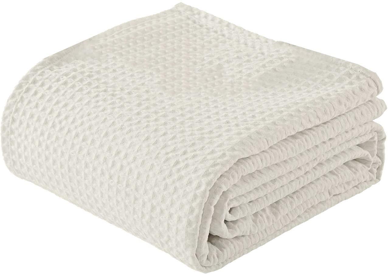 100% Ringspun Cotton Waffle Weave Thermal Blanket Throw Size 50