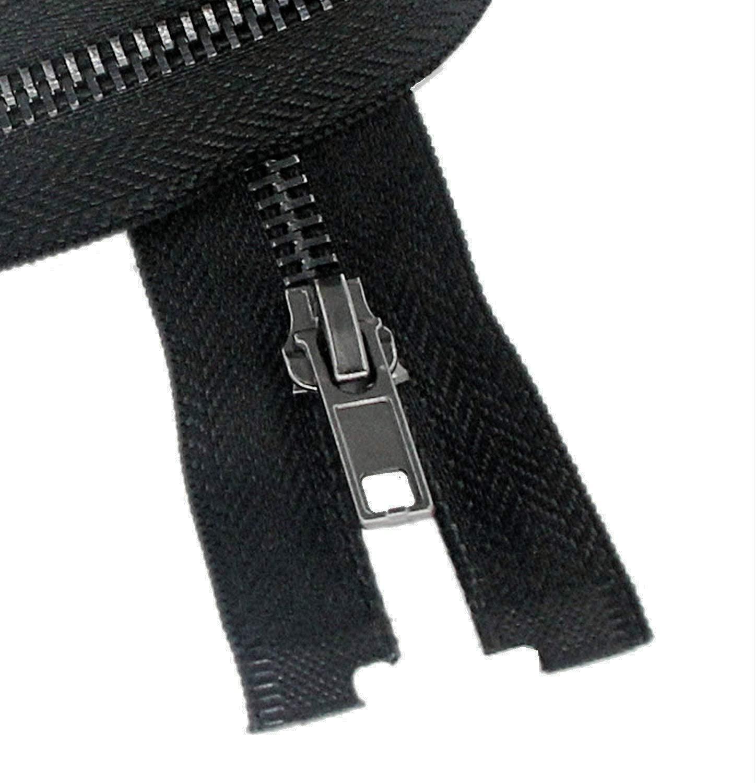#8 22 Inch Separating Jacket Zipper Black Nickel 55.88cm Metal Zipper Heavy Duty Metal Zippers for Jackets Sewing Coats Crafts (22