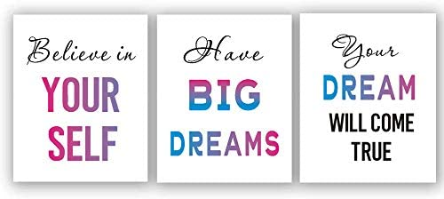 Watercolor writing Inspirational Wall Art. Kids Inspirational Decor,Inspirational Wall Art for Kids,Modern Art Print Canvas Painting. Motivational Phrases Wall Art Poster. For Nursery or Kids Room Home Decor (Set of 3) - 8