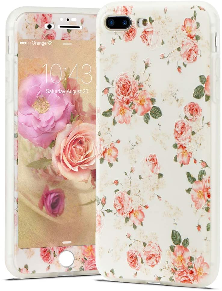 LCHULLE Floral Case for iPhone 6 iPhone 6S Flower Case for Girls Women with Screen Protector Cute Vintage Floral Design Soft TPU Shockproof Full Body Protective Cover for iPhone 6/6S,White