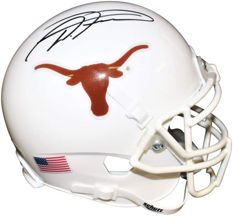 D'onta Foreman Autographed Signed Texas Longhorns White Schutt XP Mini Helmet - Beckett Authentic