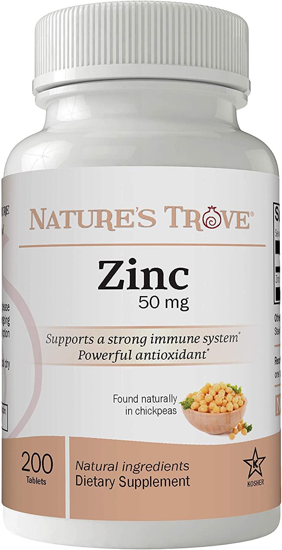Zinc 50mg as Zinc Gluconate, 200 Zinc Tablets, Natural Immune Boost, Vegan, by Nature's Trove