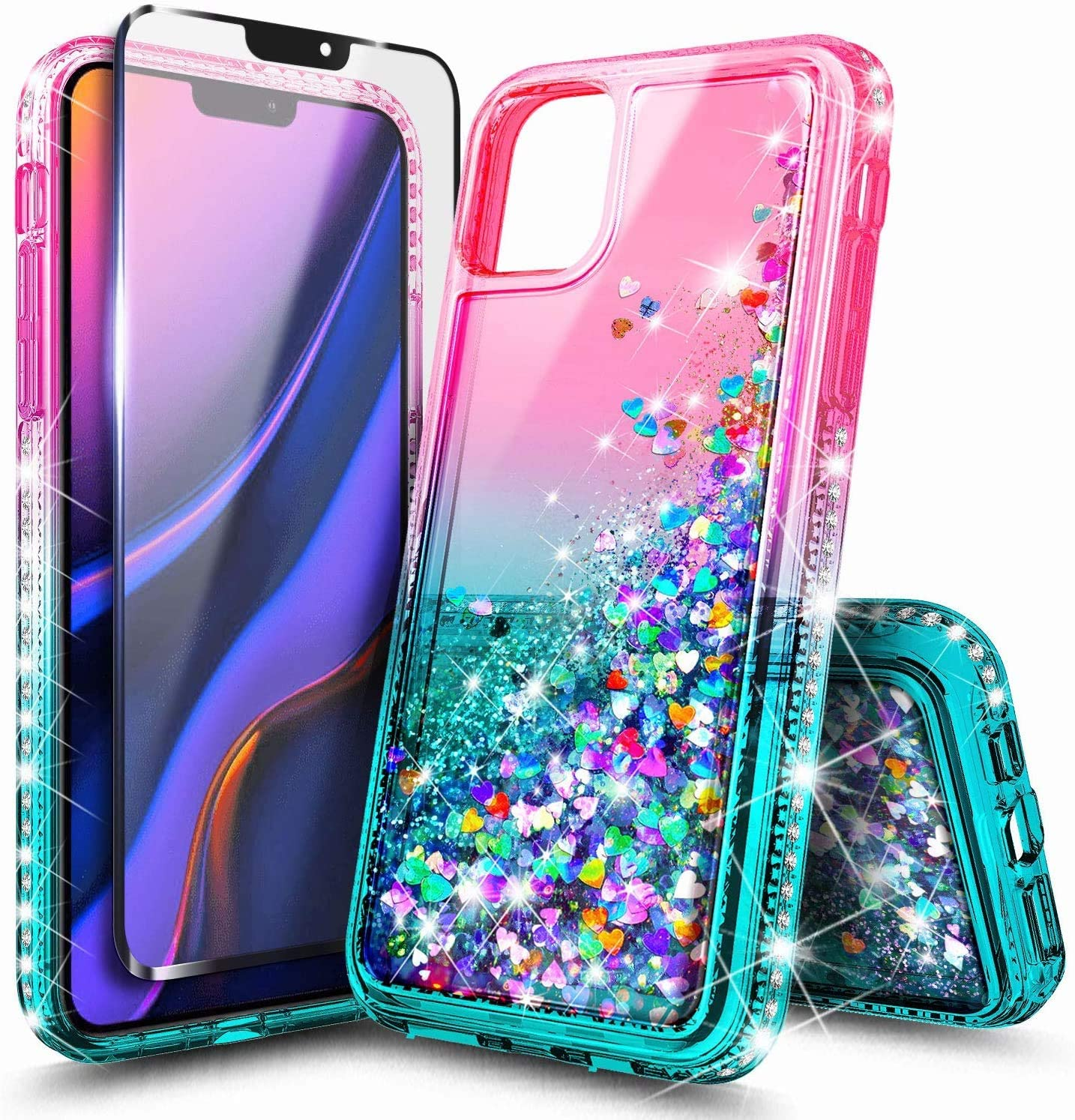 NZND Case for Google Pixel 4 XL (2019 Release) with Tempered Glass Screen Protector, Sparkle Glitter Flowing Liquid Quicksand with Shiny Bling Diamond, Women Girls Cute Phone Case Cover (Pink/Aqua)