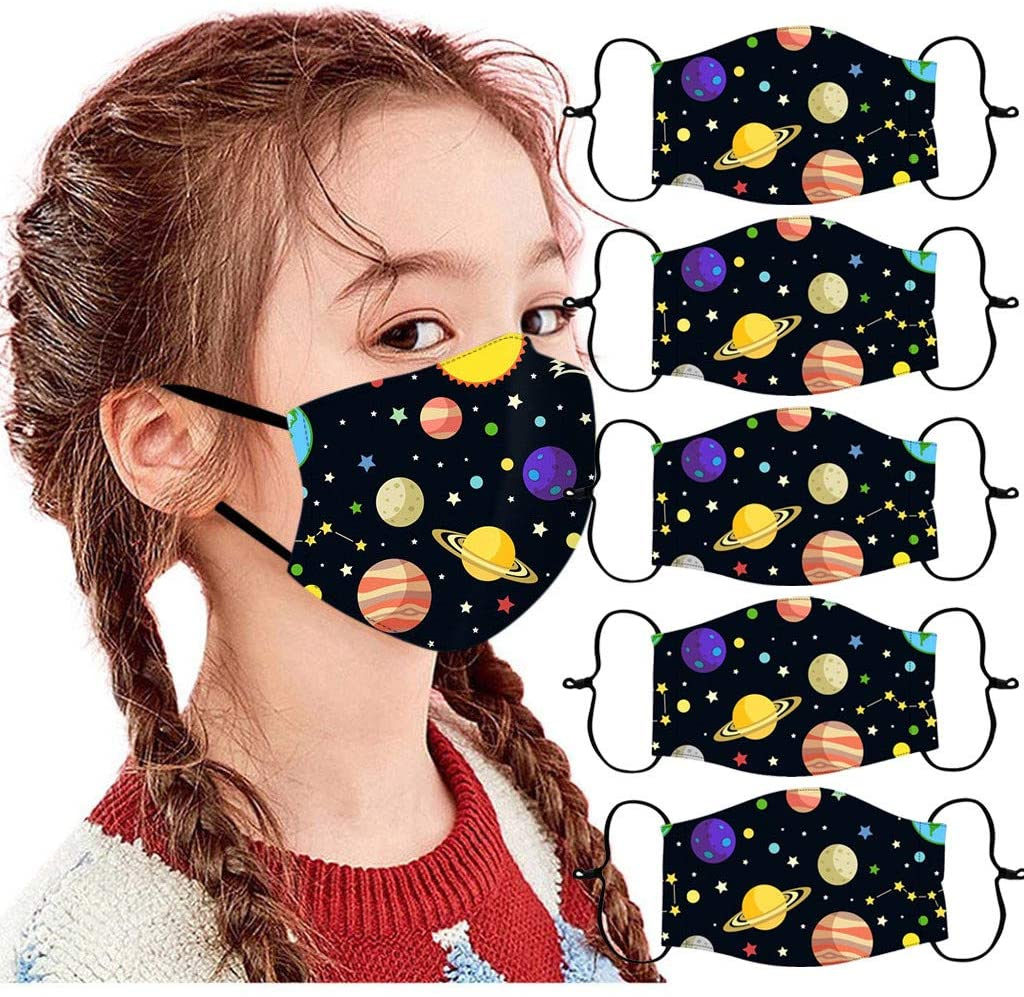5Pc Children'S Adjustable Windproof Reusable Cartoon Printed Face Bandanas,Kids Mouth Protection Cloth Breathable Scarf Cover