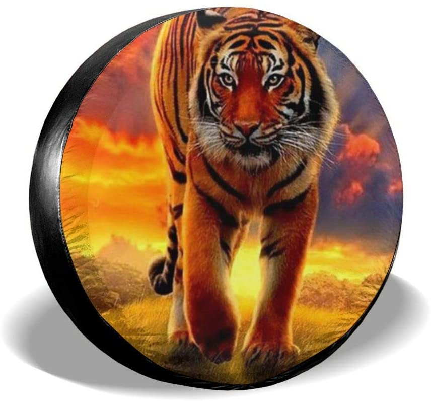 Tire Cover Big Tiger King Portable Polyester Universal Spare Wheel Tire Cover Wheel Covers for Jeep Trailer RV SUV Truck Camper Travel Trailer Accessories