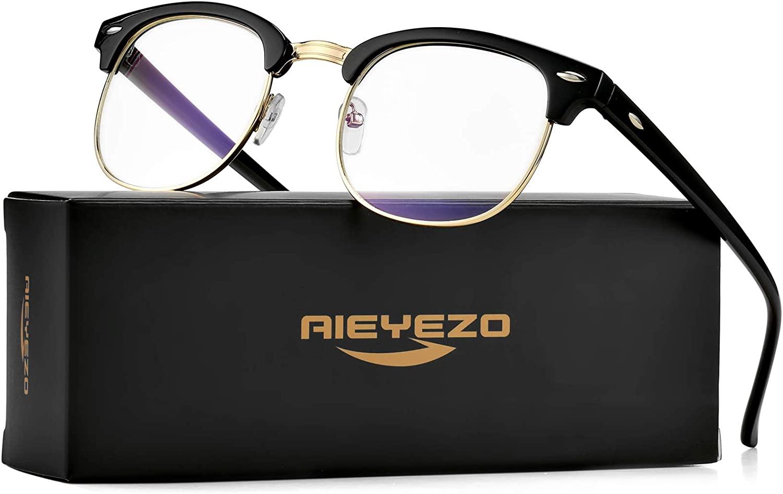 Unisex Blue Light Blocking Glasses Retro Semi Rimless Computer Optics Glasses with Metal Rivets