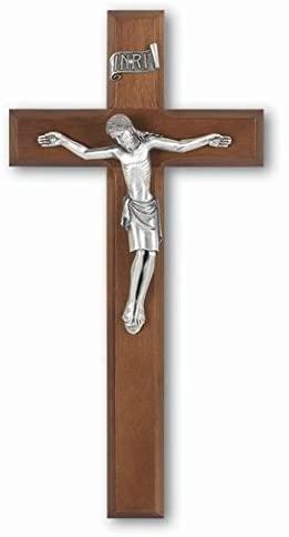 Walnut Wood Silver Cipolletti Corpus Religious 11 Inch Wall Cross Crucifix