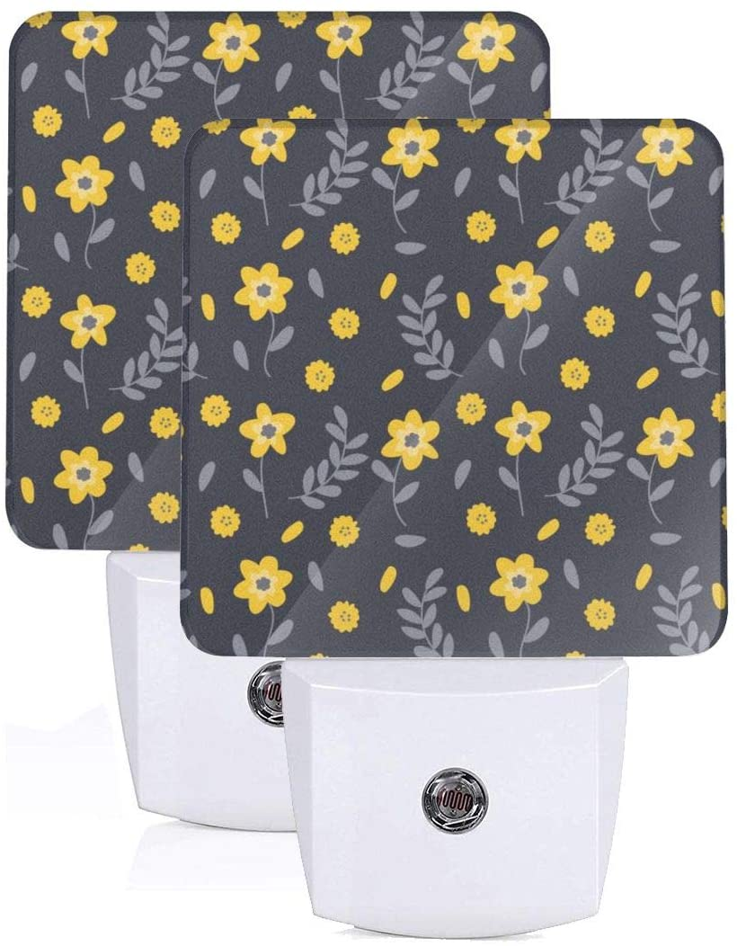 FeiHuang Printing Yellow Floral-Black Patterns On Plug-in LED Night Light Warm White Nightlight for Bedroom Bathroom Hallway Stairways(0.5W 2-Pack)