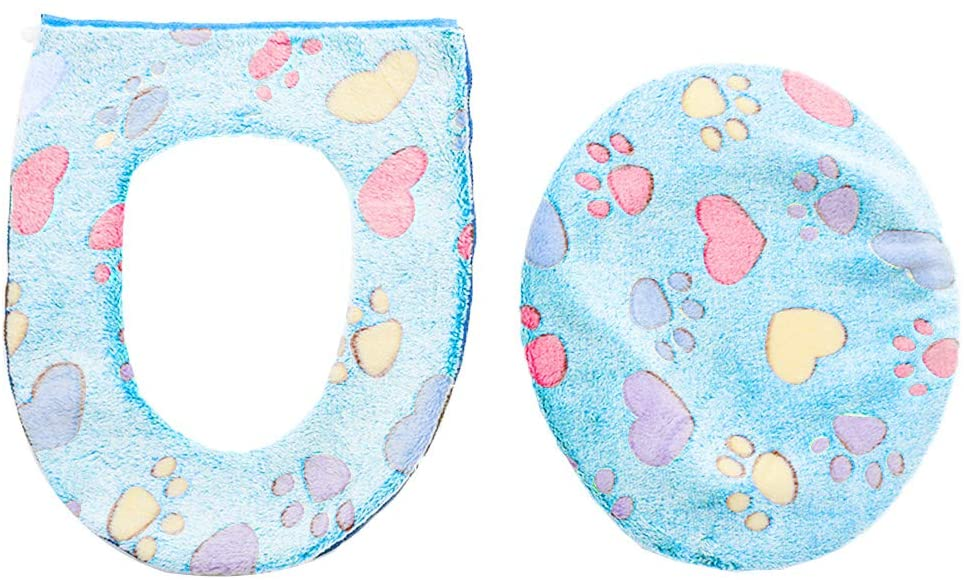 PandaLily s Thicker Warmer Cover Pad Cushion for Toilet 2Pcs Footprint Heart Print Round Toilet Seat Cushion Lid Cover Set Home Decor Blue