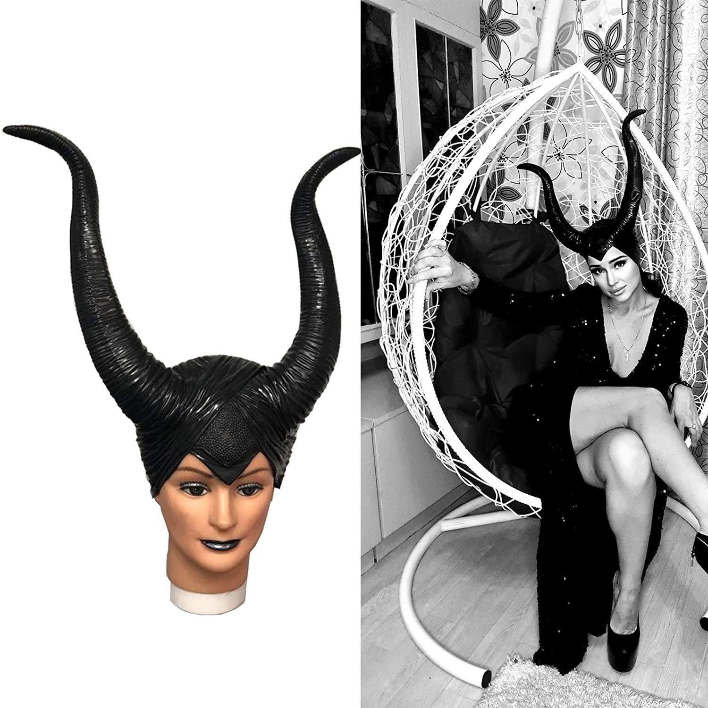 MostaShow Women Queen Horns Hat Halloween Costume Black Long Horns Headpiece Headband