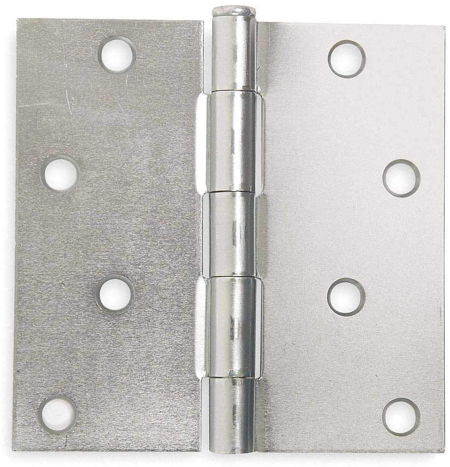 4 x 4 Butt Hinge with Zinc Finish, Full Mortise Mounting, Square Corners pack of 5