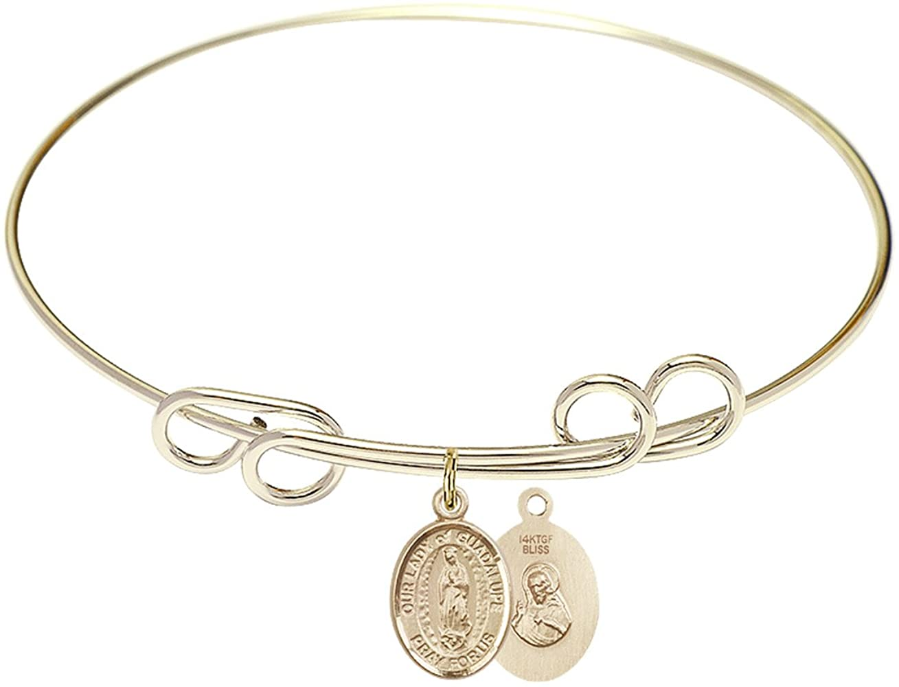 Bonyak Jewelry Round Double Loop Bangle Bracelet w/Our Lady of Guadalupe in Gold-Filled