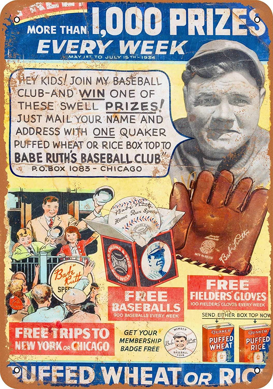 Feddiy Tin/Aluminum Sign Wall Metal Retro Craft Art Painting Iron Plate Office Garden Living Room Decoration Warning Poster 12X8 Babe Ruth Baseball Club