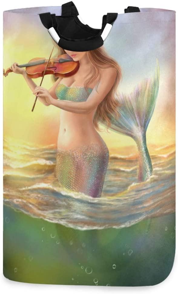 ALAZA Woman Fantasy Mermaid Violin Sunset Laundry Basket Hamper Large Storage Bin with Handles for Gift Baskets, Bedroom, Clothes