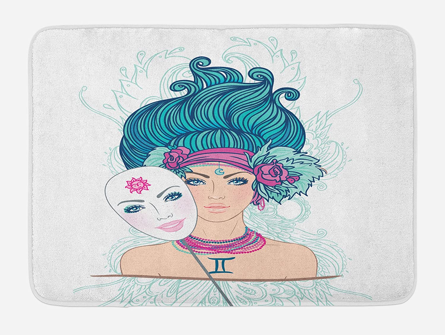 Ambesonne Zodiac Gemini Bath Mat, Young Woman with Sad Expression Holding a Expressing Cheerfulness, Plush Bathroom Decor Mat with Non Slip Backing, 29.5