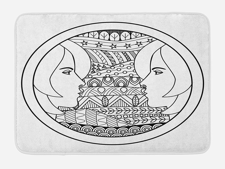 Ambesonne Zodiac Gemini Bath Mat, Ornamental Circle Design with Patterns and 2 Women Portraits, Plush Bathroom Decor Mat with Non Slip Backing, 29.5 X 17.5, Black and White